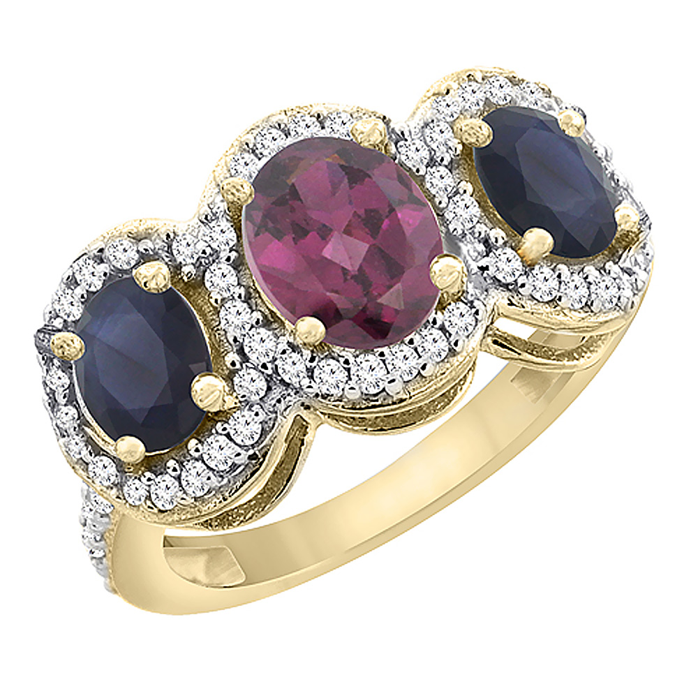 14K Yellow Gold Natural Rhodolite & Quality Blue Sapphire 3-stone Mothers Ring Oval Diamond Accent,sz5-10
