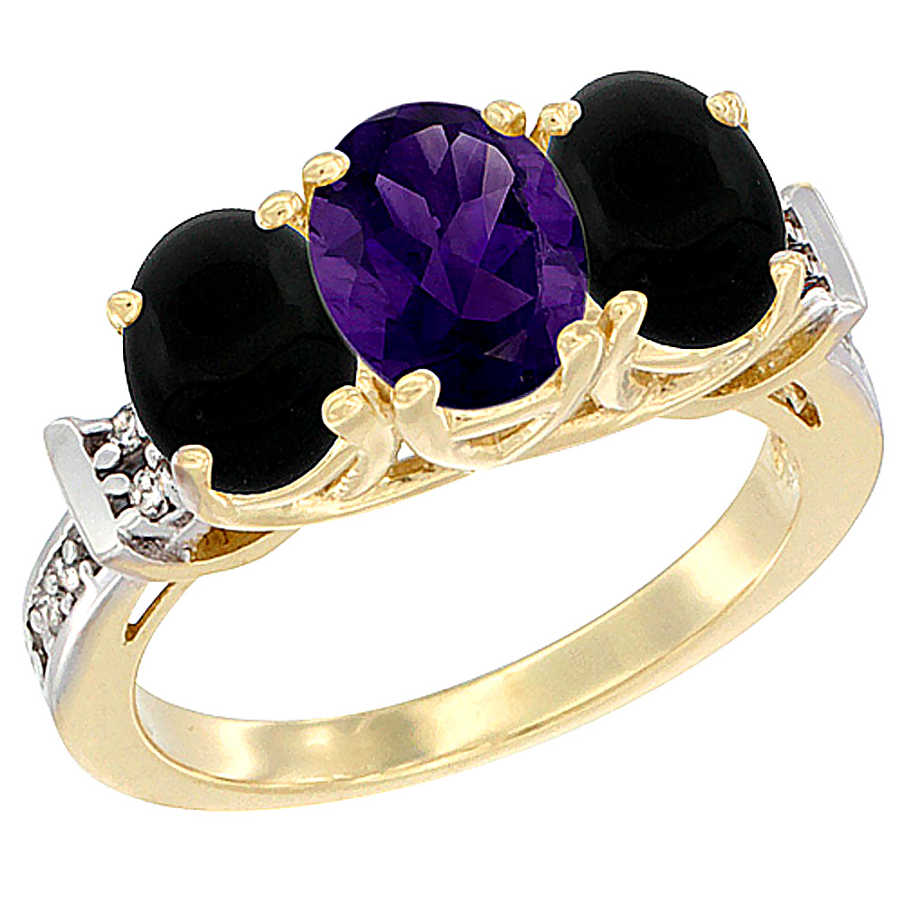 10K Yellow Gold Natural Amethyst & Black Onyx Sides Ring 3-Stone Oval Diamond Accent, sizes 5 - 10