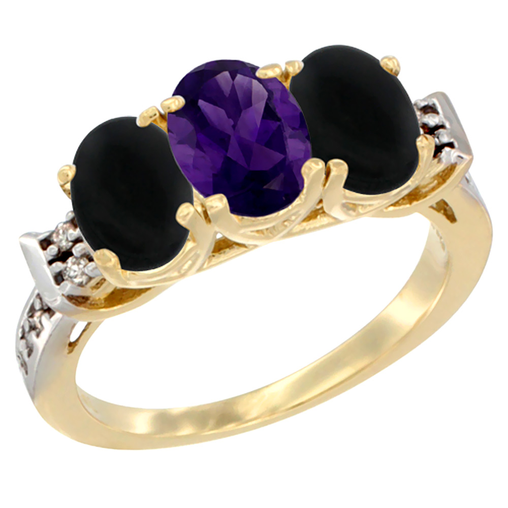 10K Yellow Gold Natural Amethyst & Black Onyx Sides Ring 3-Stone Oval 7x5 mm Diamond Accent, sizes 5 - 10