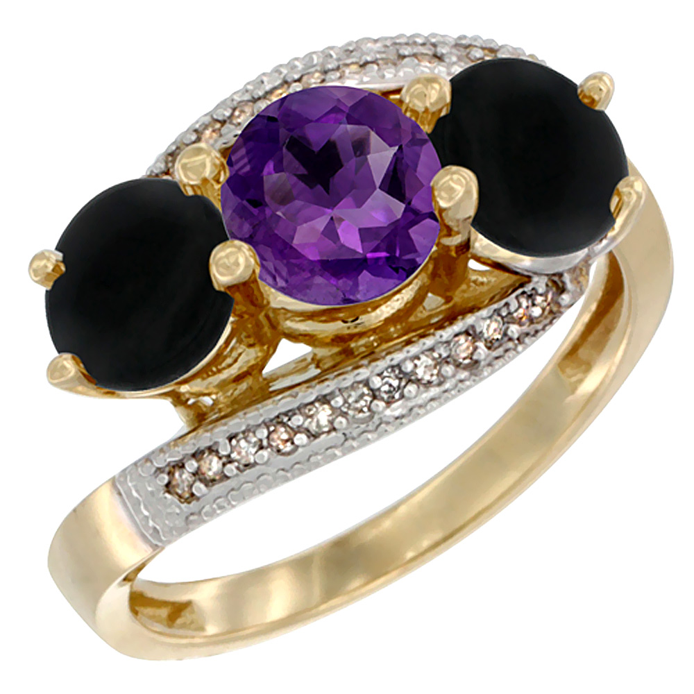 10K Yellow Gold Natural Amethyst & Black Onyx Sides 3 stone Ring Round 6mm Diamond Accent, sizes 5 - 10