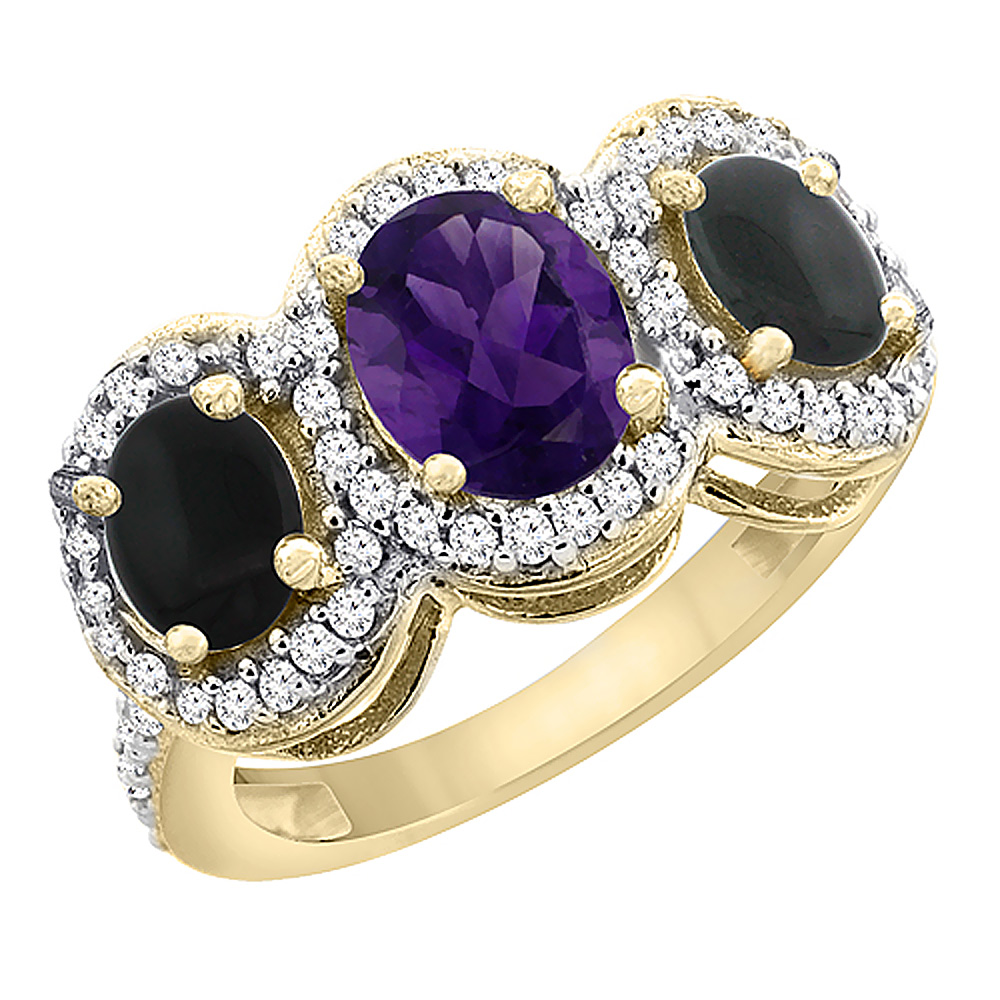 10K Yellow Gold Natural Amethyst & Black Onyx 3-Stone Ring Oval Diamond Accent, sizes 5 - 10