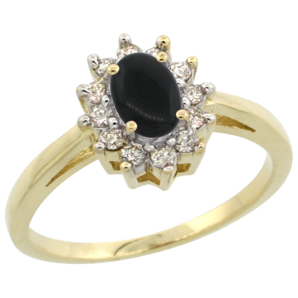 14K Yellow Gold Natural Black Onyx Flower Diamond Halo Ring Oval 6x4 mm, sizes 5 10