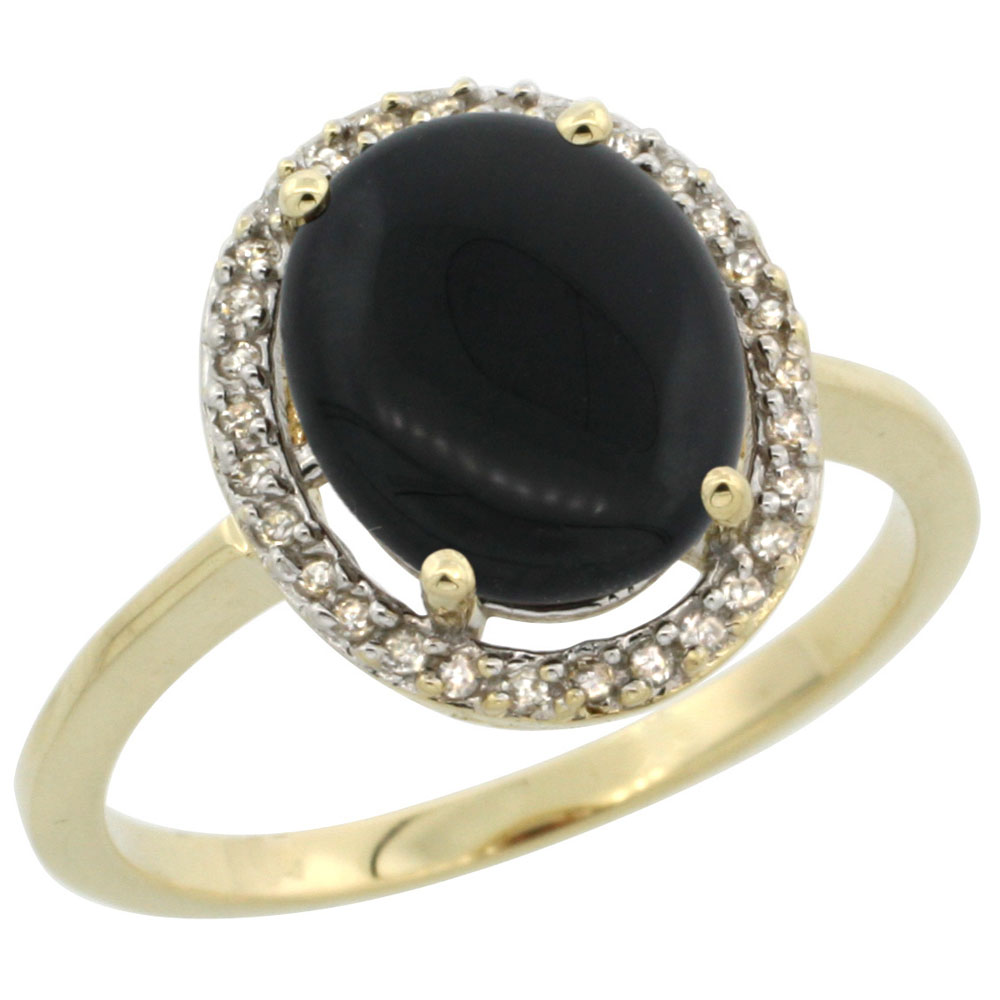 10K Yellow Gold Diamond Halo Natural Black Onyx Engagement Ring Oval 10x8 mm, sizes 5-10