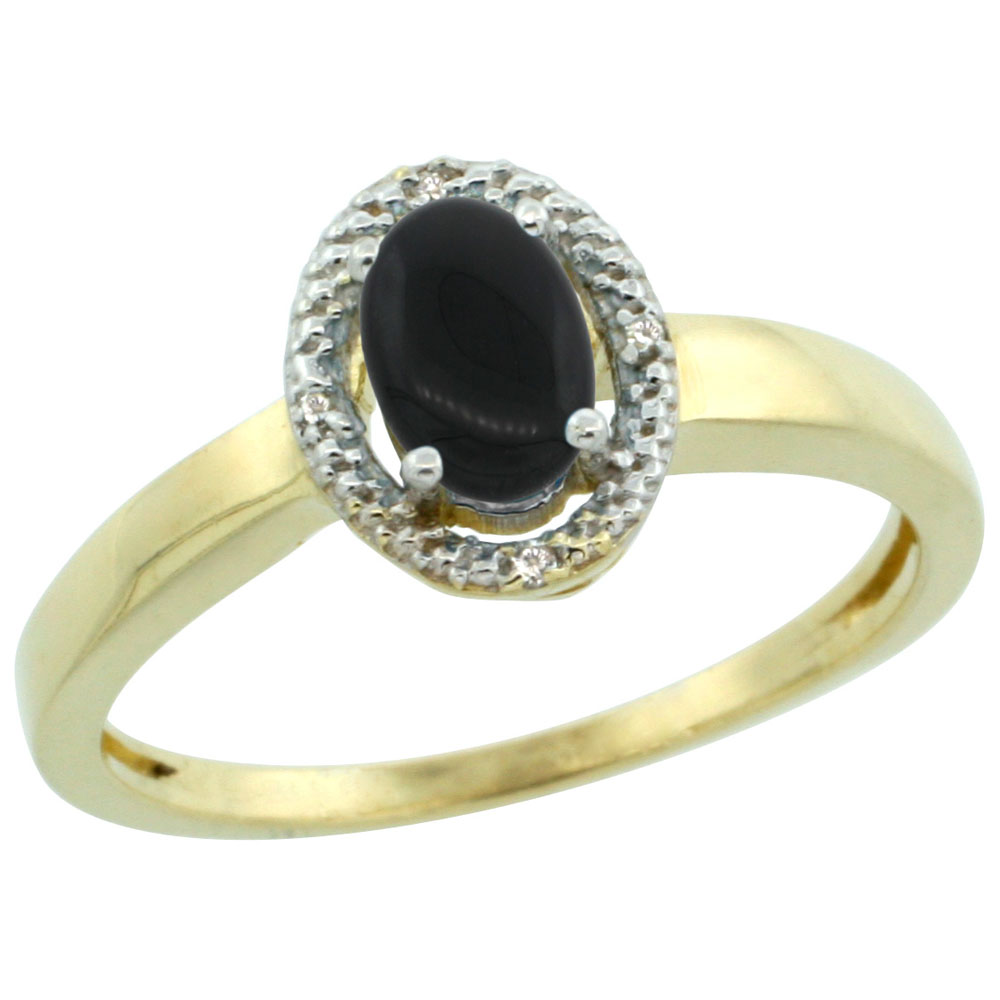 10K Yellow Gold Diamond Halo Natural Black Onyx Engagement Ring Oval 6X4 mm, sizes 5-10
