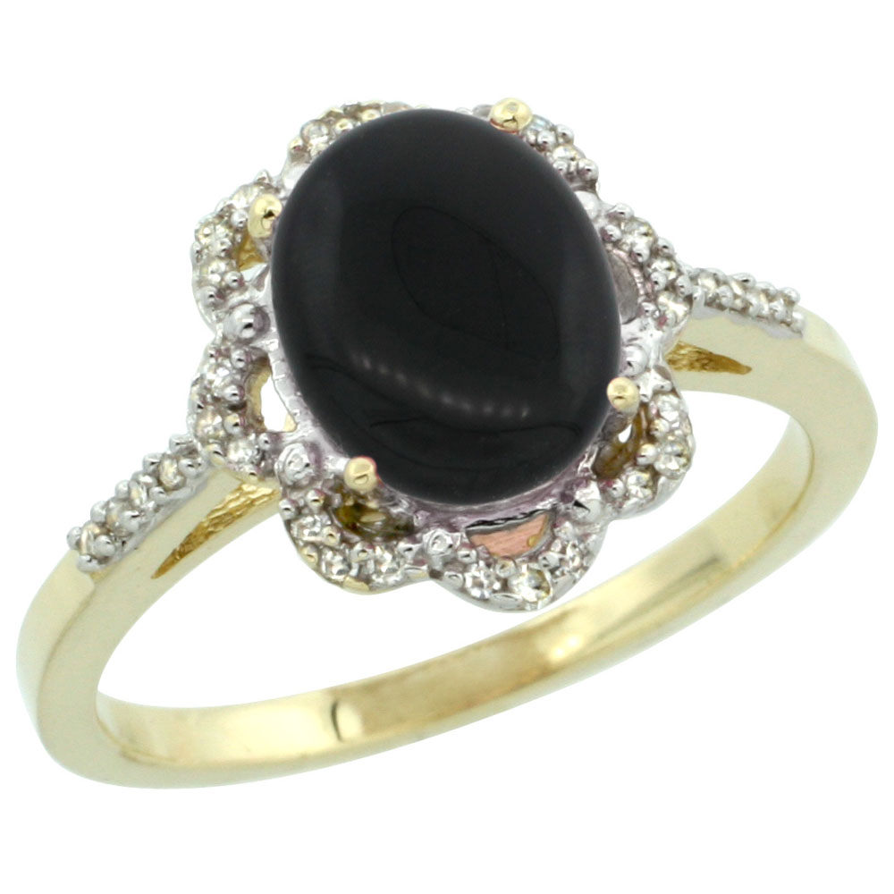 10K Yellow Gold Diamond Halo Natural Black Onyx Engagement Ring Oval 9x7mm, sizes 5-10