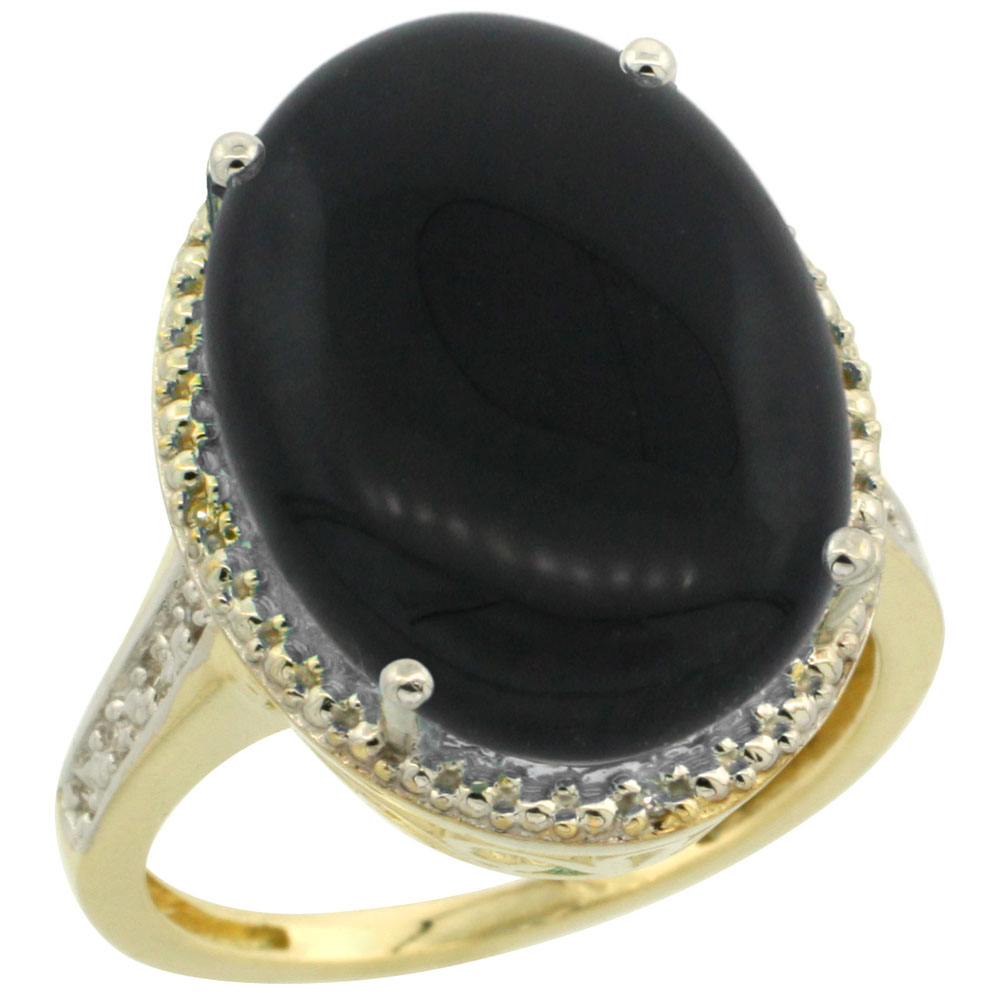 10K Yellow Gold Diamond Natural Black Onyx Ring Oval 18x13mm, sizes 5-10