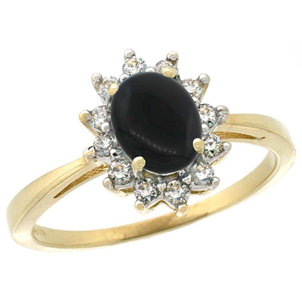14K Yellow Gold Natural Black Onyx Engagement Ring Oval 7x5mm Diamond Halo, sizes 5-10