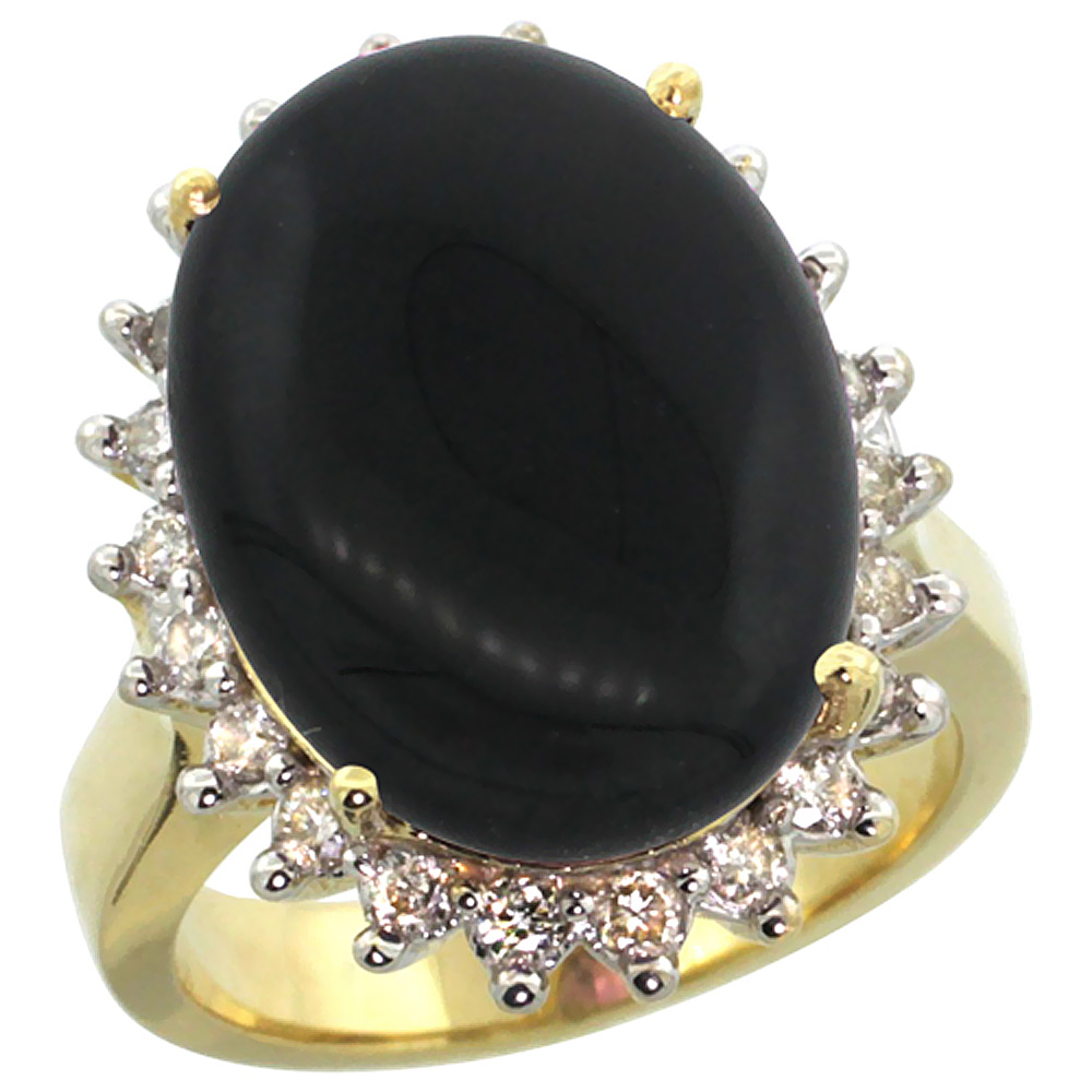 14k Yellow Gold Diamond Halo Natural Black Onyx Ring Large Oval 18x13mm, sizes 5-10