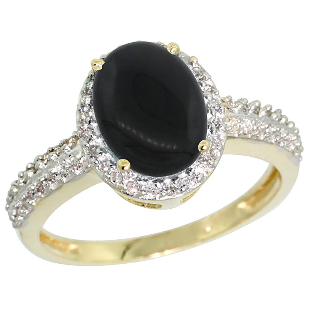 14K Yellow Gold Diamond Natural Black Onyx Ring Oval 9x7mm, sizes 5-10