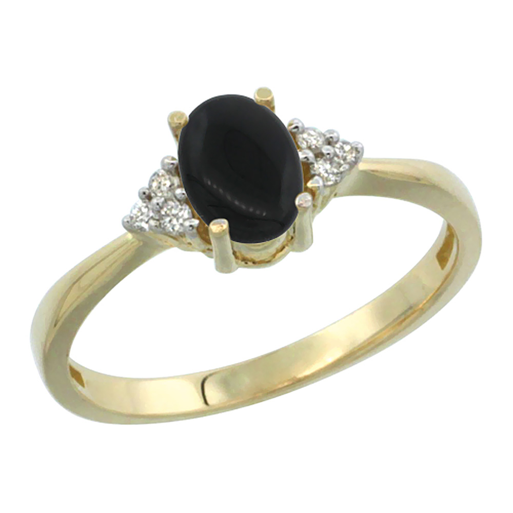 14K Yellow Gold Diamond Natural Black Onyx Engagement Ring Oval 7x5mm, sizes 5-10