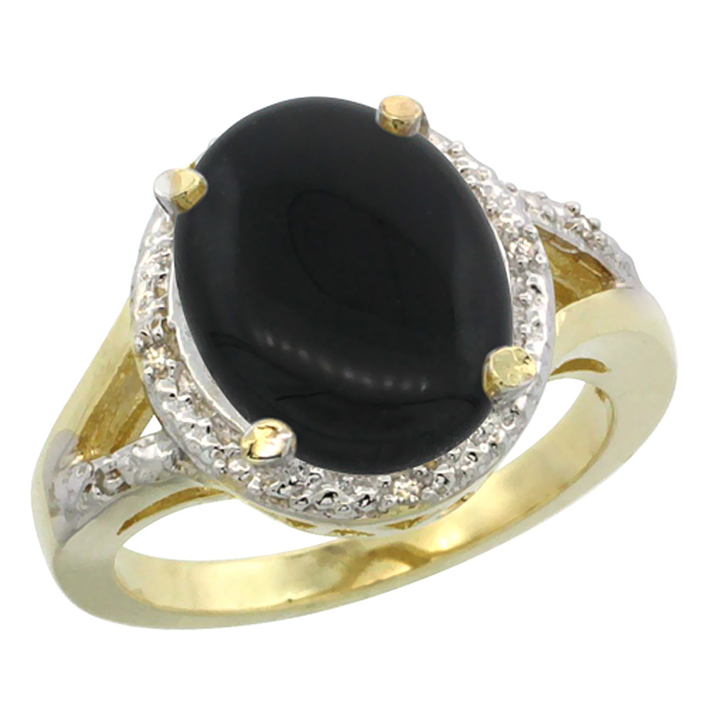 14K Yellow Gold Natural Onyx Ring Oval 12x10mm Diamond Accent, sizes 5-10