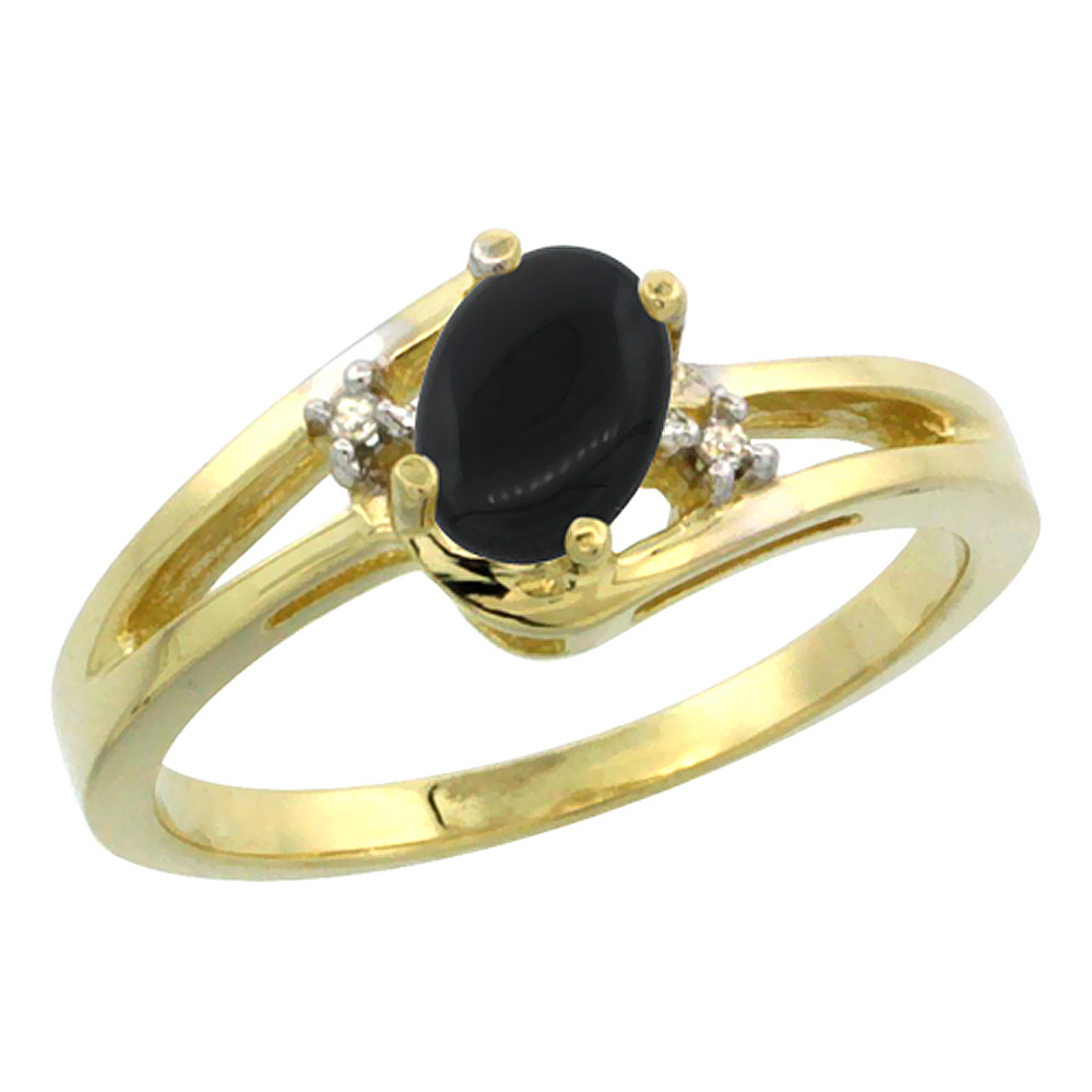 14K Yellow Gold Diamond Natural Black Onyx Ring Oval 6x4 mm, sizes 5-10
