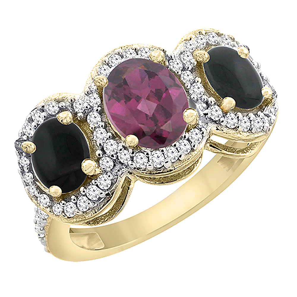 10K Yellow Gold Natural Rhodolite & Black Onyx 3-Stone Ring Oval Diamond Accent, sizes 5 - 10