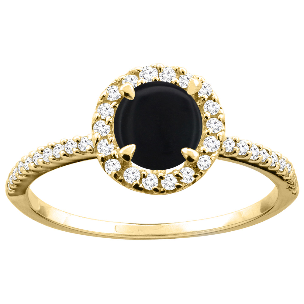14K Gold Natural Black Onyx Ring Round 6mm Diamond Accents, sizes 5 - 10