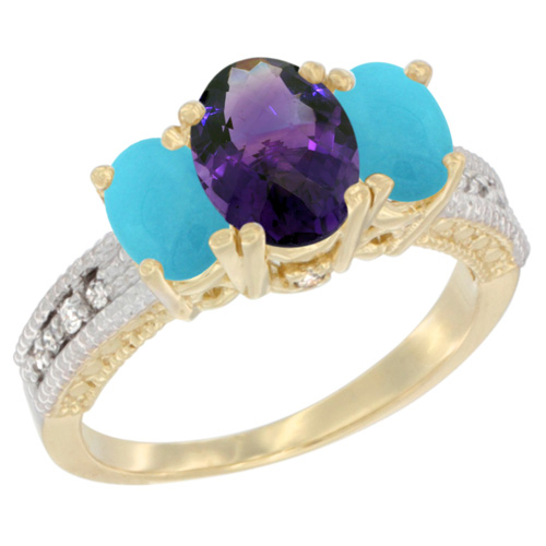 10K Yellow Gold Diamond Natural Amethyst Ring Oval 3-stone with Turquoise, sizes 5 - 10