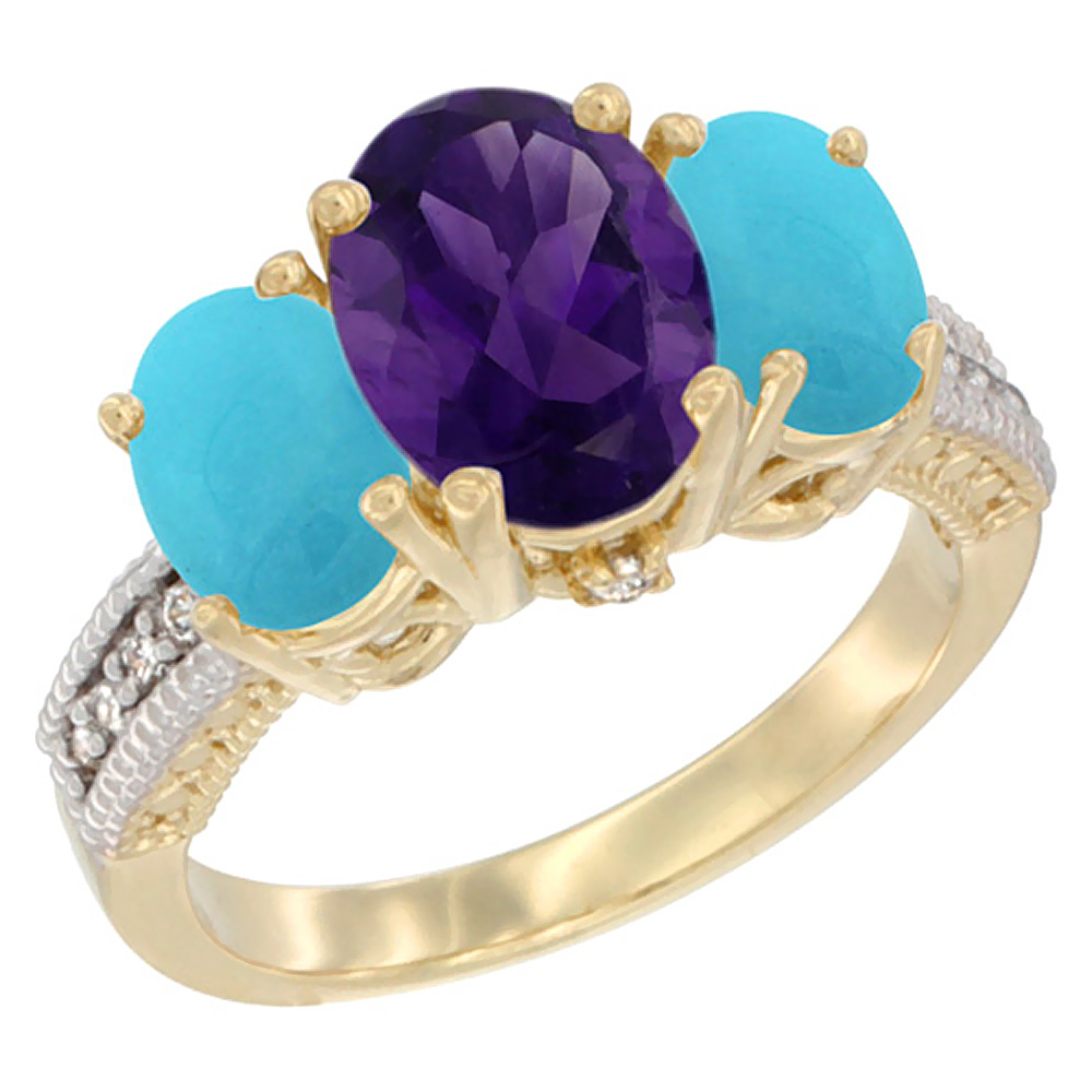 10K Yellow Gold Diamond Natural Amethyst Ring 3-Stone Oval 8x6mm with Turquoise, sizes5-10