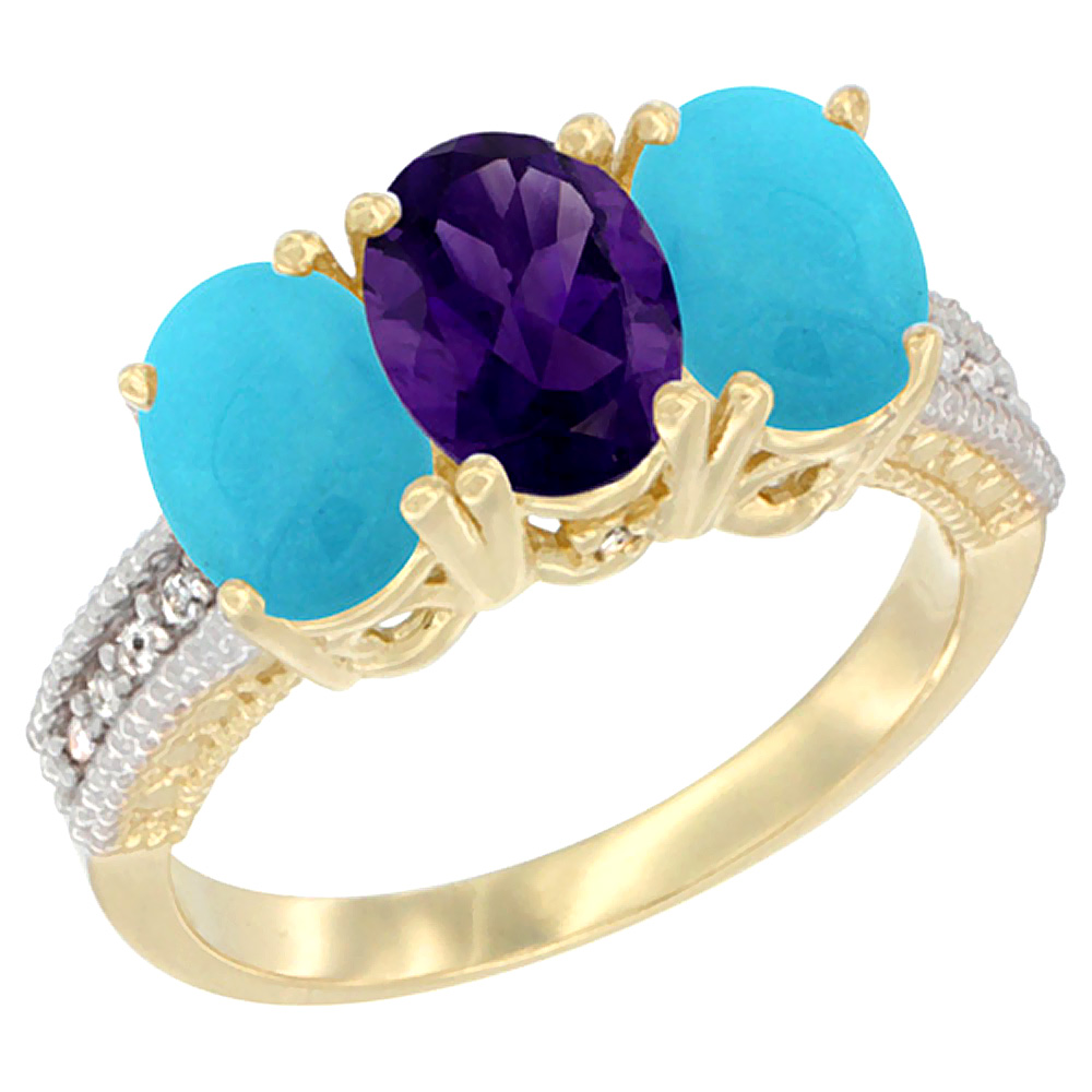 10K Yellow Gold Natural Amethyst & Turquoise Ring 3-Stone Oval 7x5 mm Diamond Accent, sizes 5 - 10