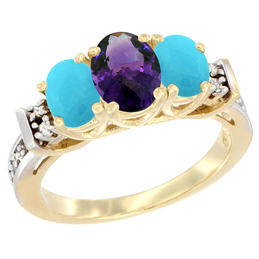 10K Yellow Gold Natural Amethyst & Turquoise Ring 3-Stone Oval Diamond Accent