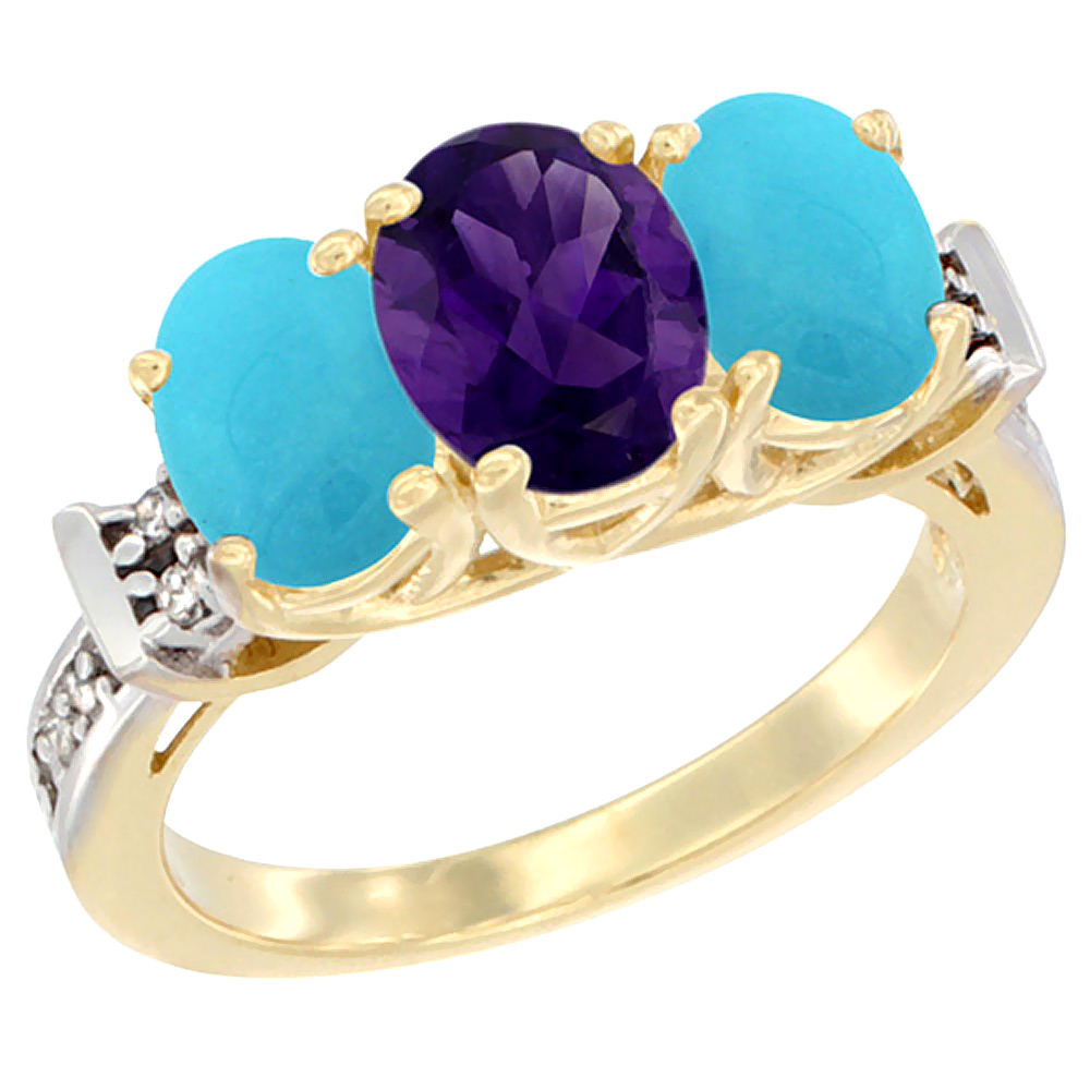 10K Yellow Gold Natural Amethyst & Turquoise Sides Ring 3-Stone Oval Diamond Accent, sizes 5 - 10
