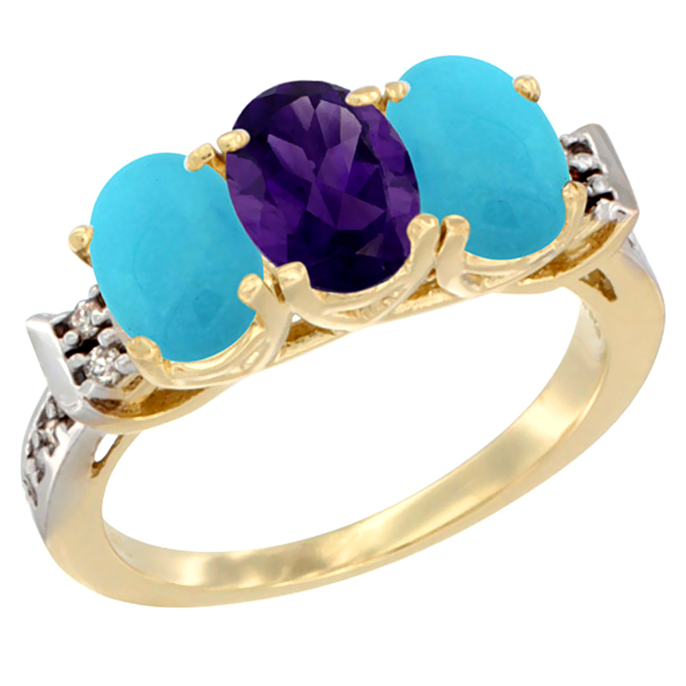 10K Yellow Gold Natural Amethyst & Turquoise Sides Ring 3-Stone Oval 7x5 mm Diamond Accent, sizes 5 - 10