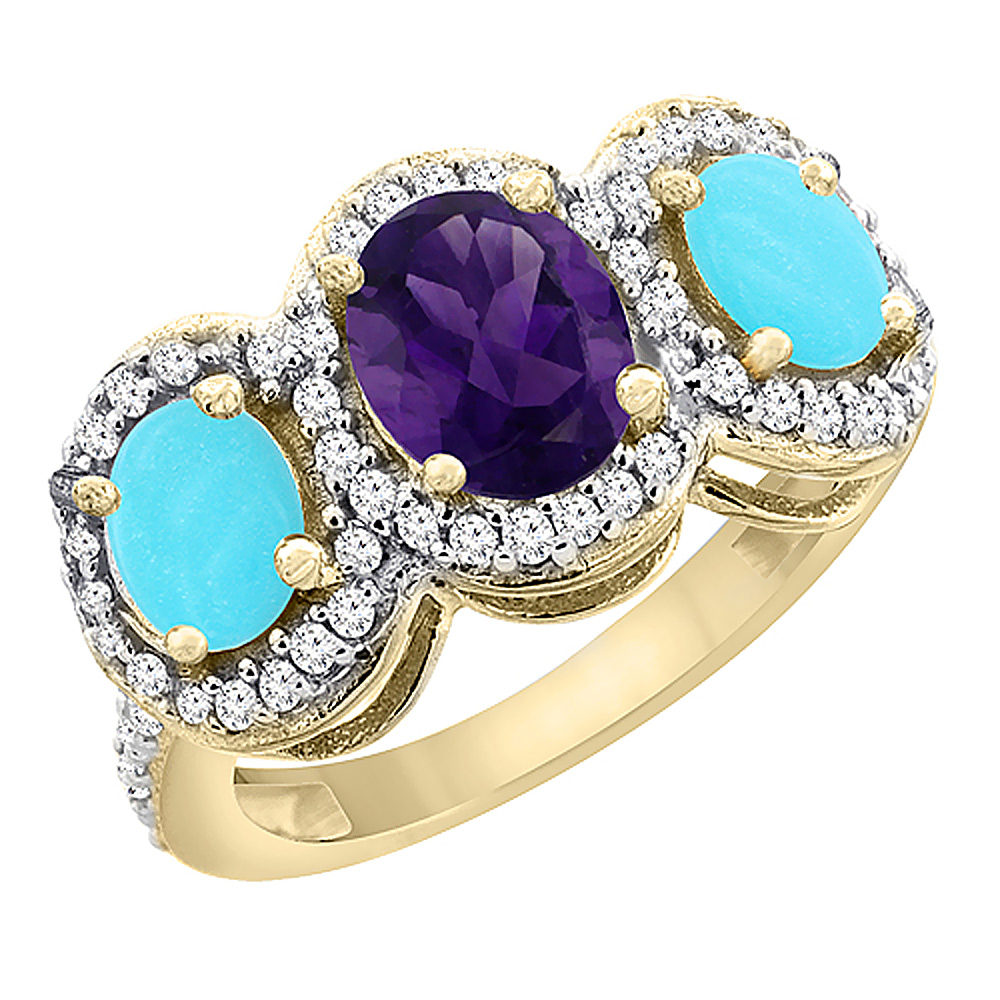 10K Yellow Gold Natural Amethyst & Turquoise 3-Stone Ring Oval Diamond Accent, sizes 5 - 10