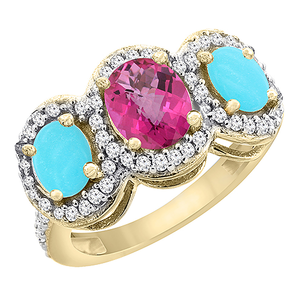 10K Yellow Gold Natural Pink Topaz & Turquoise 3-Stone Ring Oval Diamond Accent, sizes 5 - 10