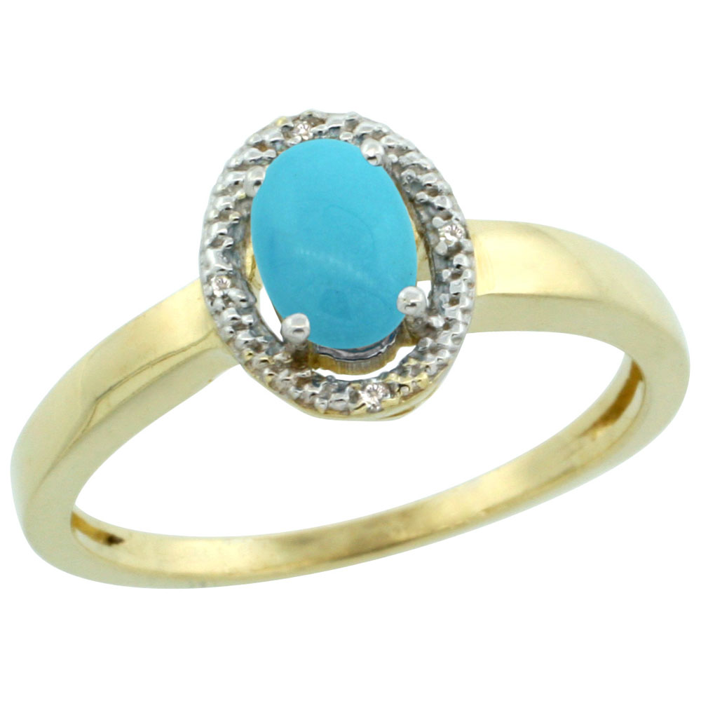 10K Yellow Gold Natural Diamond Halo Sleeping Beauty Turquoise Engagement Ring Oval 6X4 mm, sizes 5-10