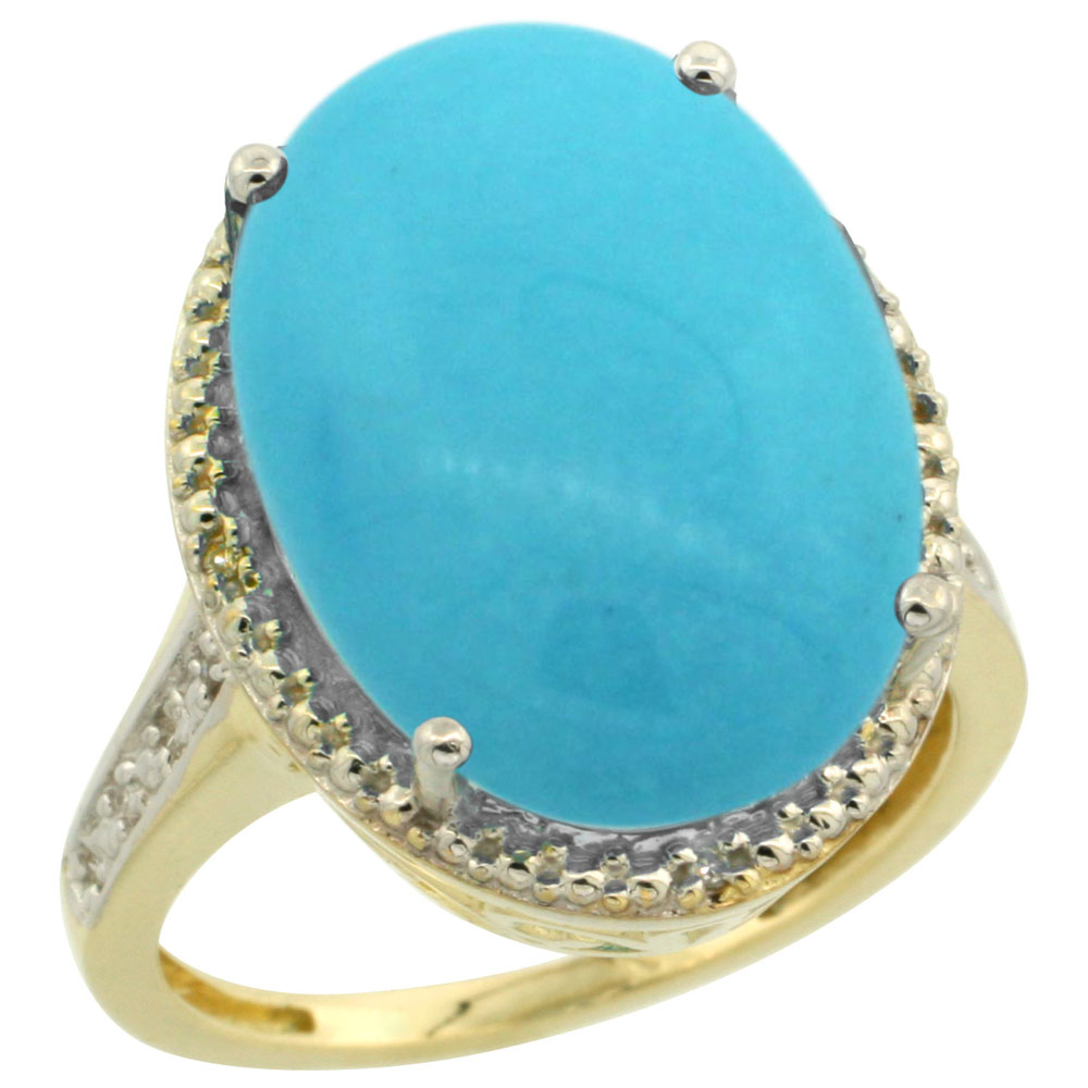 10K Yellow Gold Natural Diamond Sleeping Beauty Turquoise Ring Oval 18x13mm, sizes 5-10