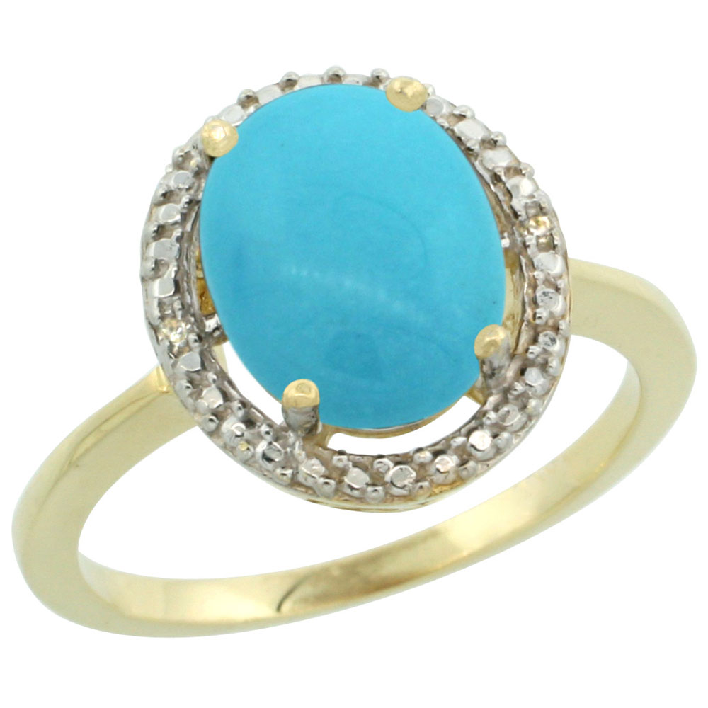 10K Yellow Gold Natural Diamond Sleeping Beauty Turquoise Engagement Ring Oval 10x8mm, sizes 5-10