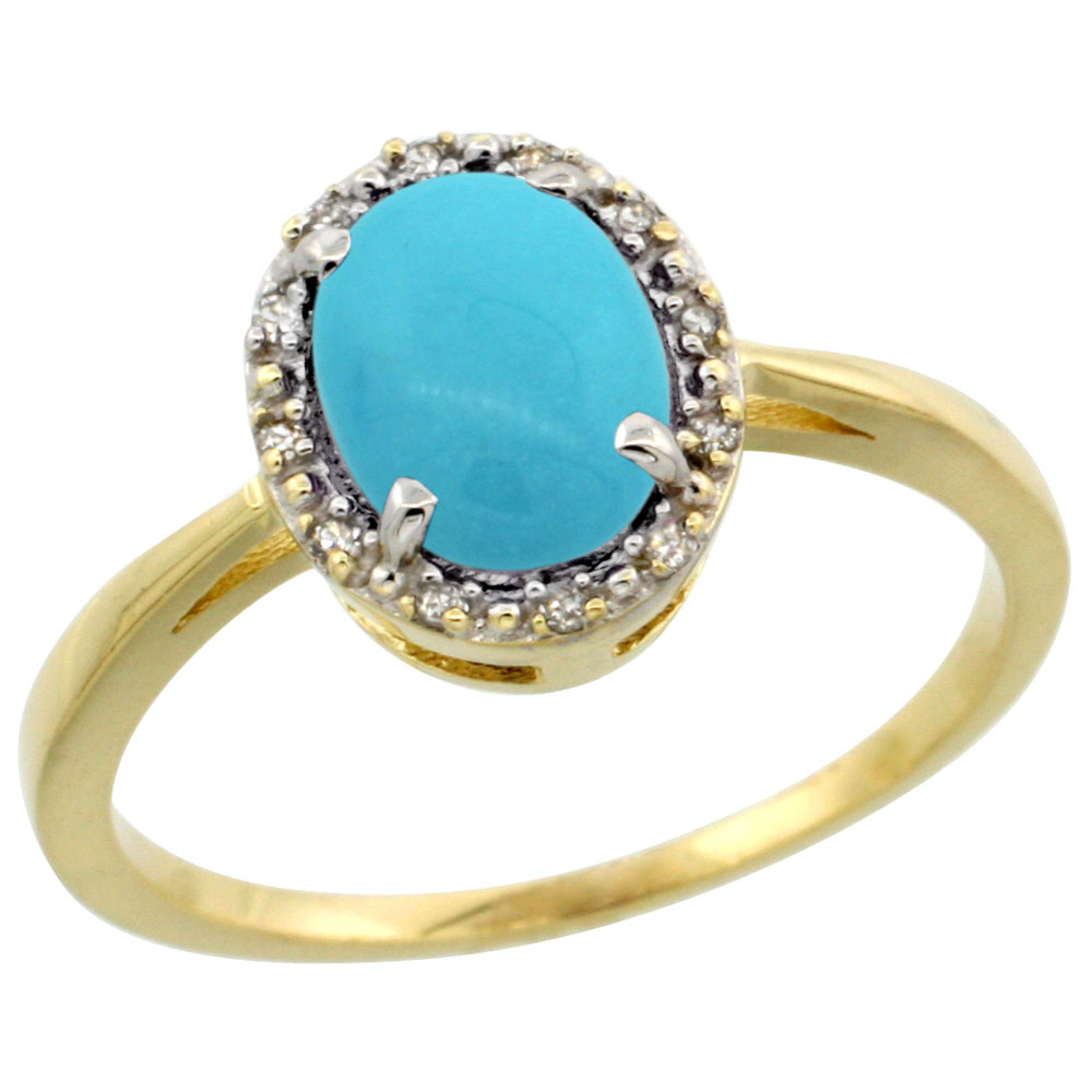 10k Yellow Gold Natural Turquoise Ring Oval 8x6 mm Diamond Halo, sizes 5-10