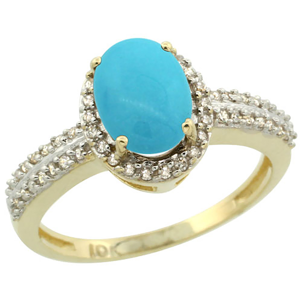 10k Yellow Gold Natural Turquoise Ring Oval 8x6mm Diamond Halo, sizes 5-10