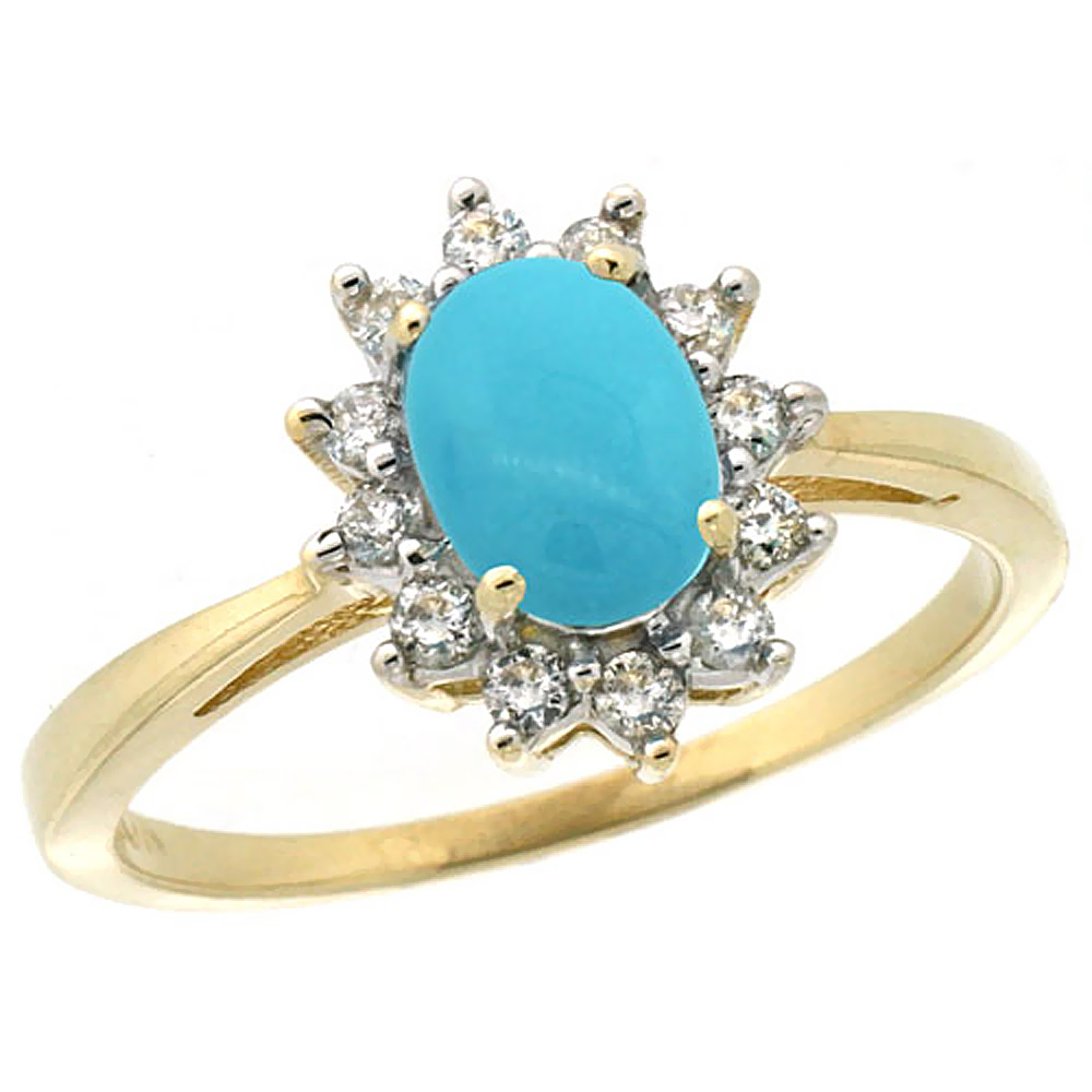 10k Yellow Gold Natural Turquoise Engagement Ring Oval 7x5mm Diamond Halo, sizes 5-10