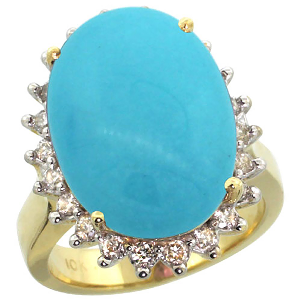 10k Yellow Gold Diamond Halo Natural Turquoise Ring Large Oval 18x13mm, sizes 5-10