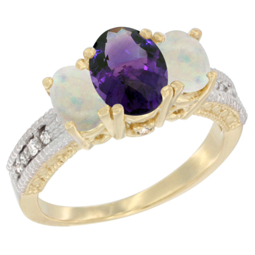 10K Yellow Gold Diamond Natural Amethyst Ring Oval 3-stone with Opal, sizes 5 - 10