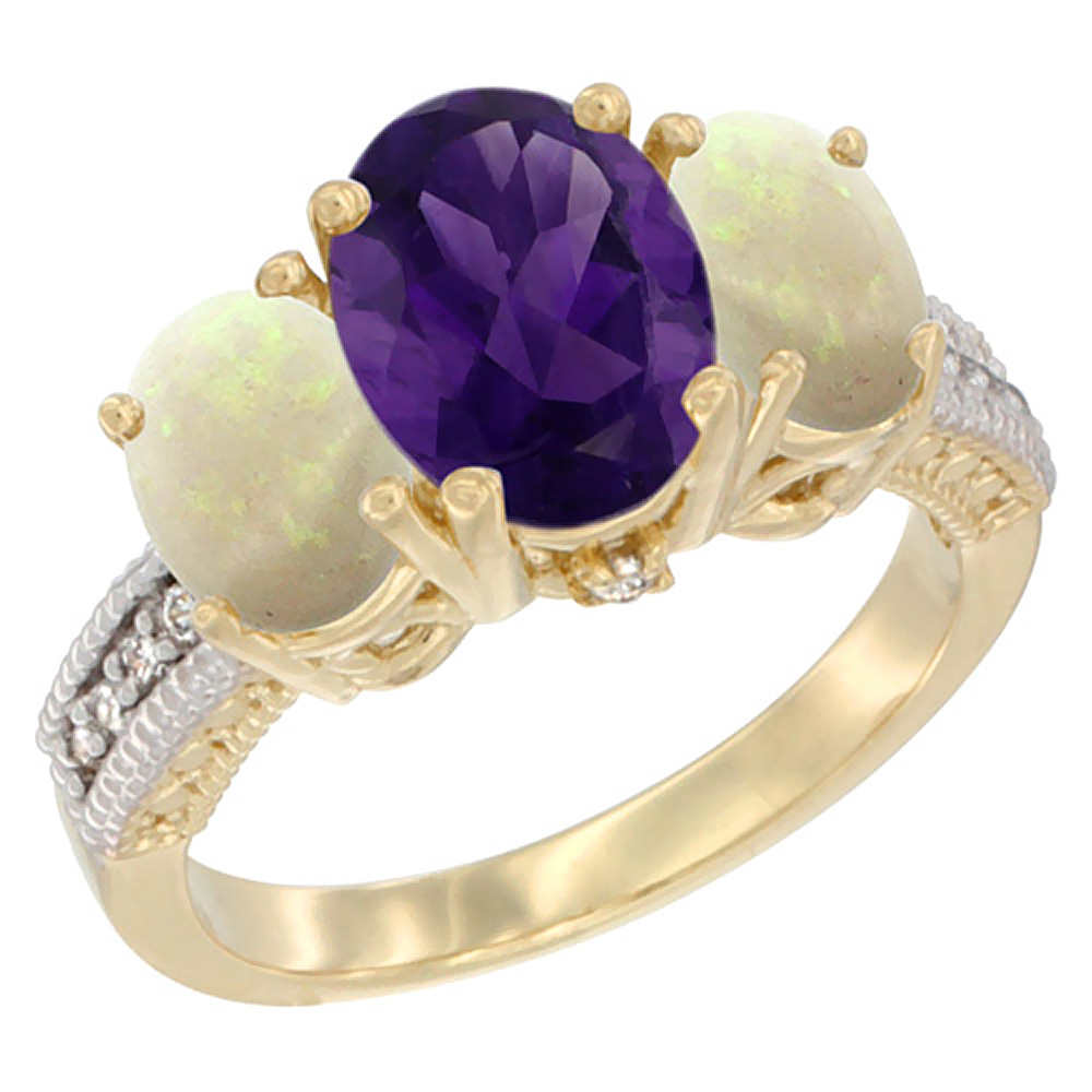 10K Yellow Gold Diamond Natural Amethyst Ring 3-Stone Oval 8x6mm with Opal, sizes5-10