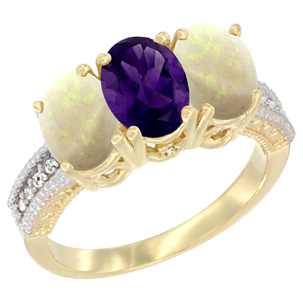 10K Yellow Gold Natural Amethyst & Opal Ring 3-Stone Oval 7x5 mm Diamond Accent, sizes 5 - 10