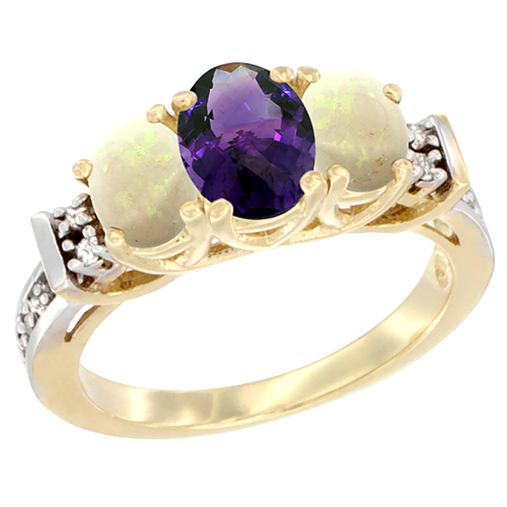 10K Yellow Gold Natural Amethyst & Opal Ring 3-Stone Oval Diamond Accent