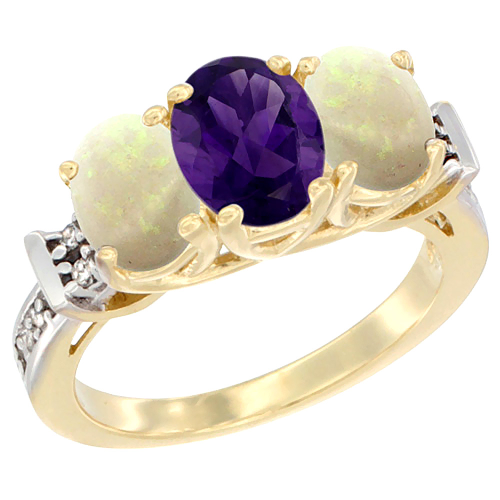 10K Yellow Gold Natural Amethyst & Opal Sides Ring 3-Stone Oval Diamond Accent, sizes 5 - 10