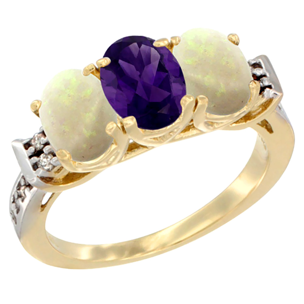 10K Yellow Gold Natural Amethyst & Opal Sides Ring 3-Stone Oval 7x5 mm Diamond Accent, sizes 5 - 10