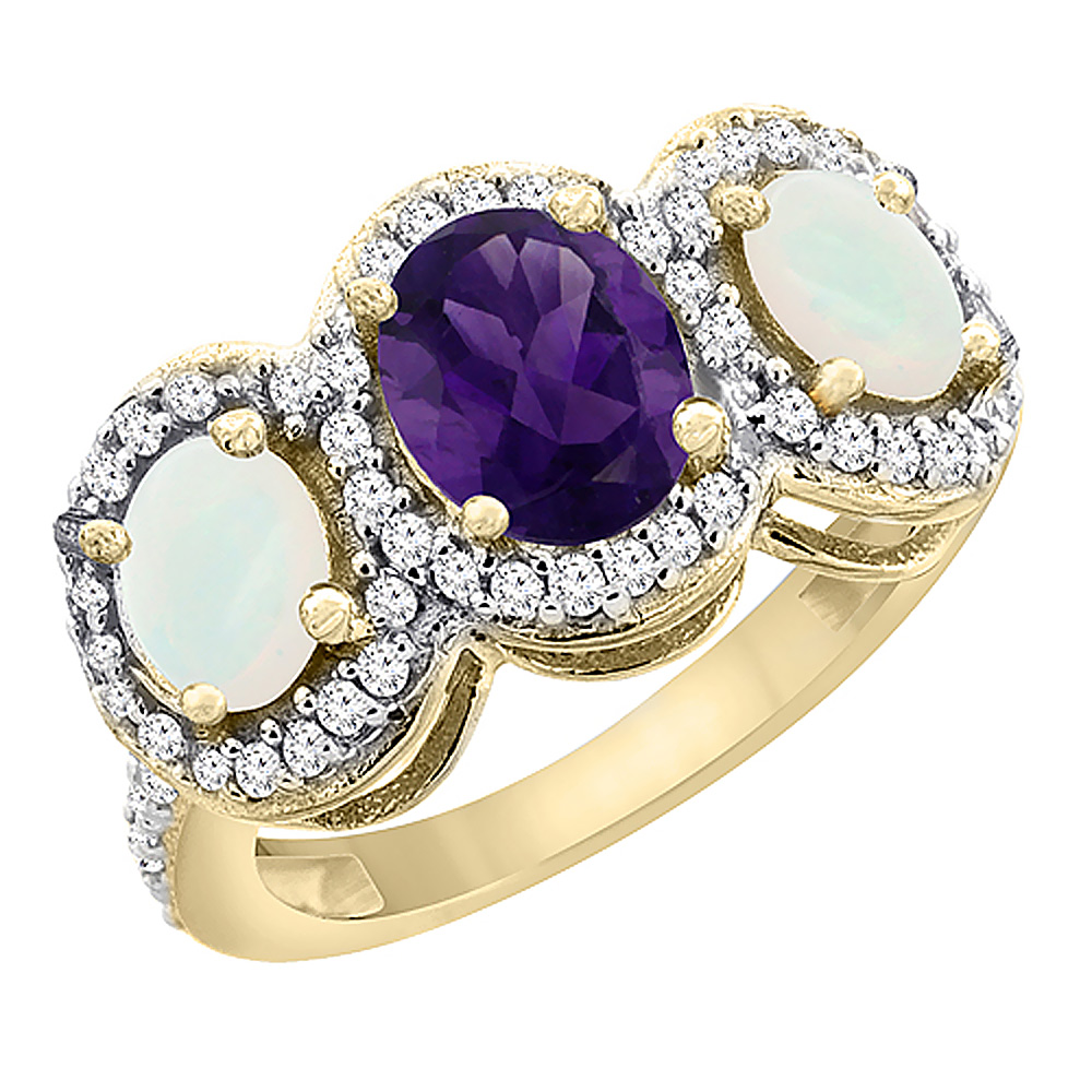 10K Yellow Gold Natural Amethyst & Opal 3-Stone Ring Oval Diamond Accent, sizes 5 - 10