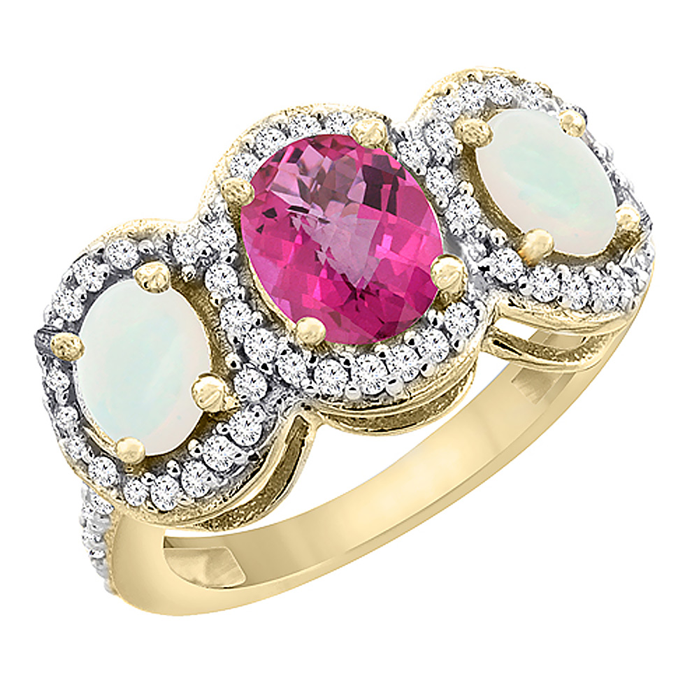 10K Yellow Gold Natural Pink Topaz & Opal 3-Stone Ring Oval Diamond Accent, sizes 5 - 10