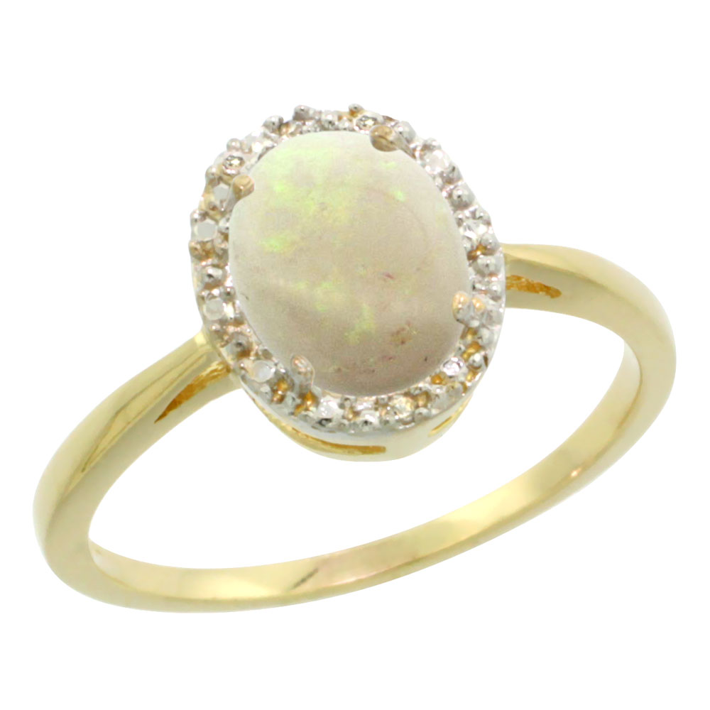 14K Yellow Gold Natural Opal Diamond Halo Ring Oval 8X6mm, sizes 5-10