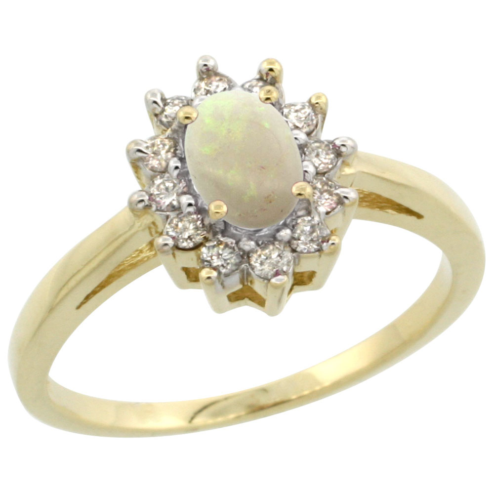 14K Yellow Gold Natural Opal Flower Diamond Halo Ring Oval 6x4 mm, sizes 5-10