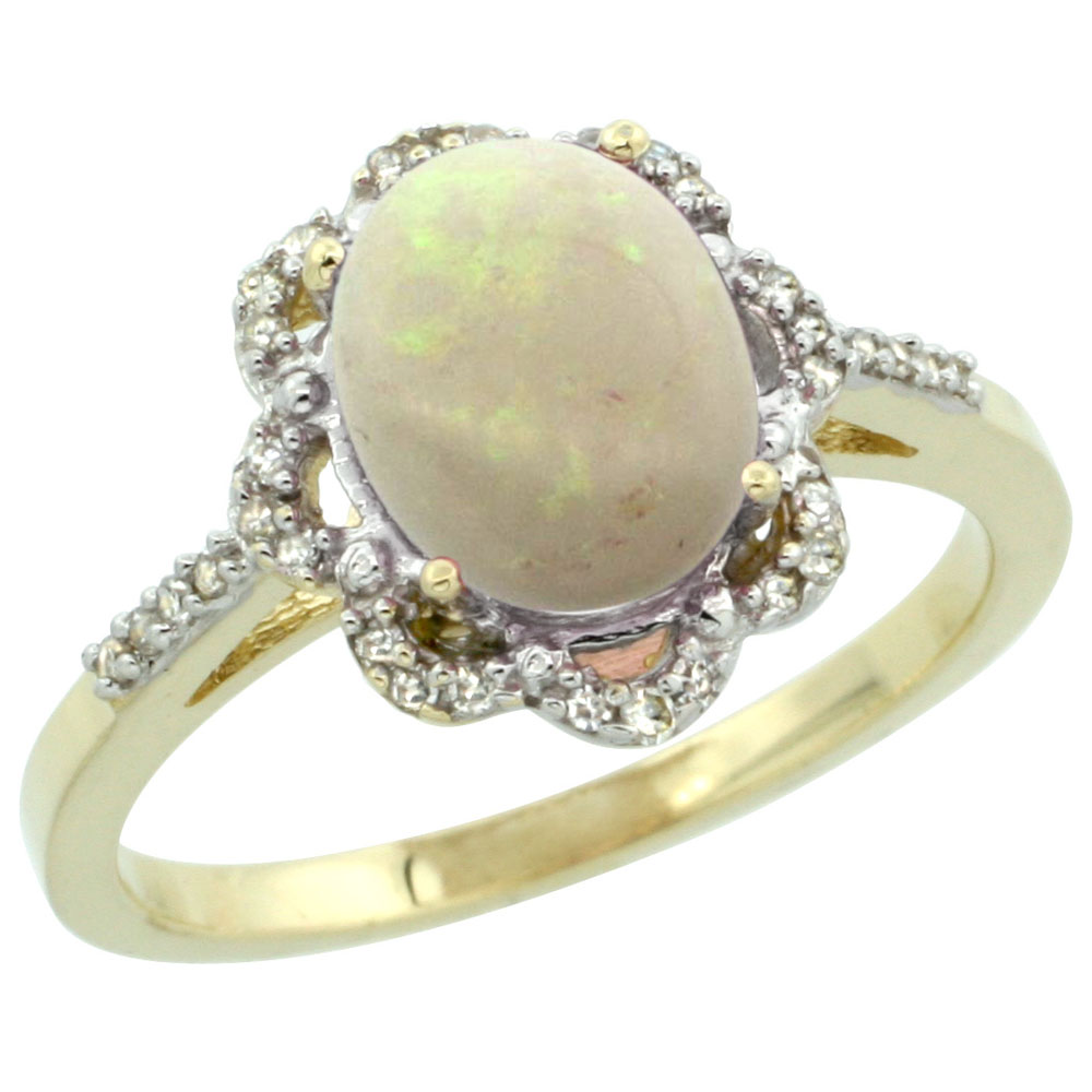 10K Yellow Gold Diamond Halo Natural Opal Engagement Ring Oval 9x7mm, sizes 5-10