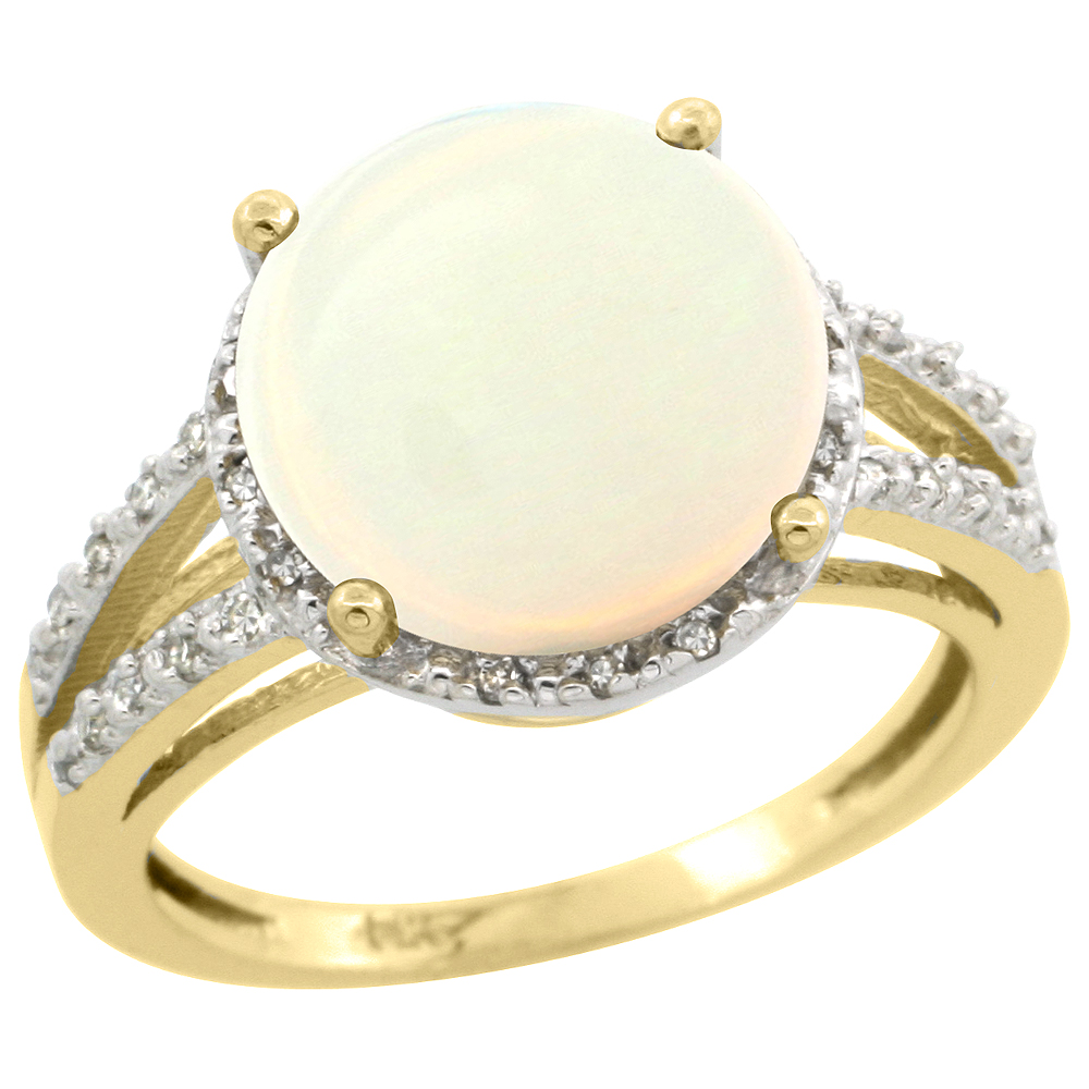 10K Yellow Gold Diamond Natural Opal Ring Round 11mm, sizes 5-10