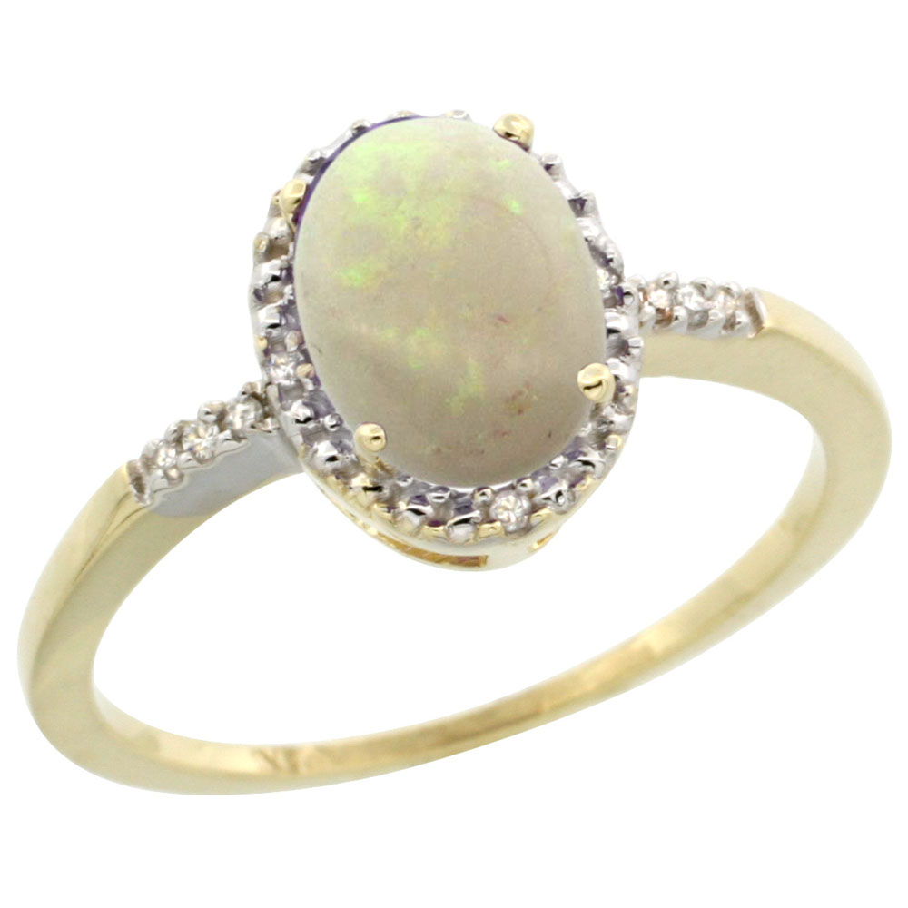 10K Yellow Gold Diamond Natural Opal Ring Oval 8x6mm, sizes 5-10