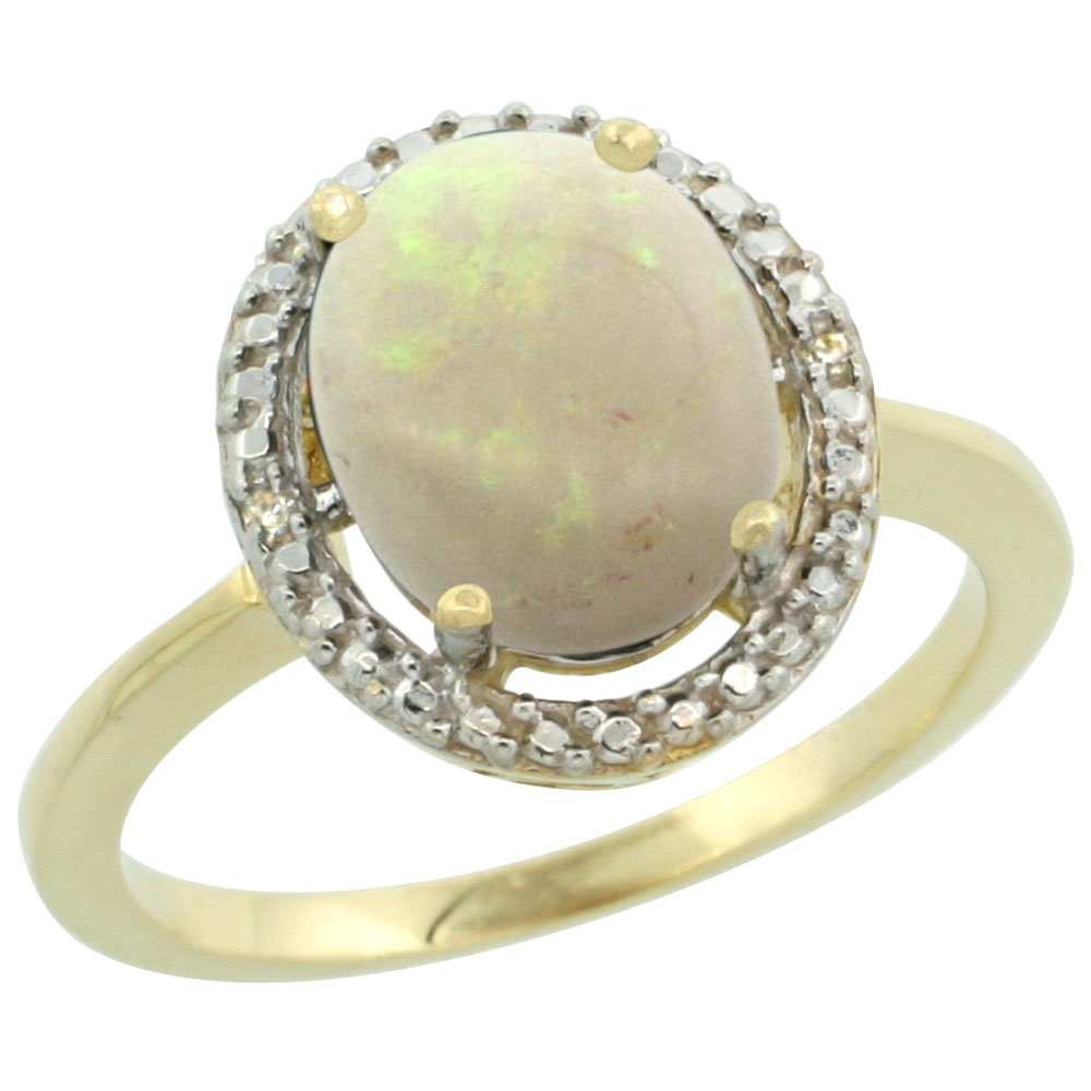 14K Yellow Gold Diamond Natural Opal Engagement Ring Oval 10x8mm, sizes 5-10