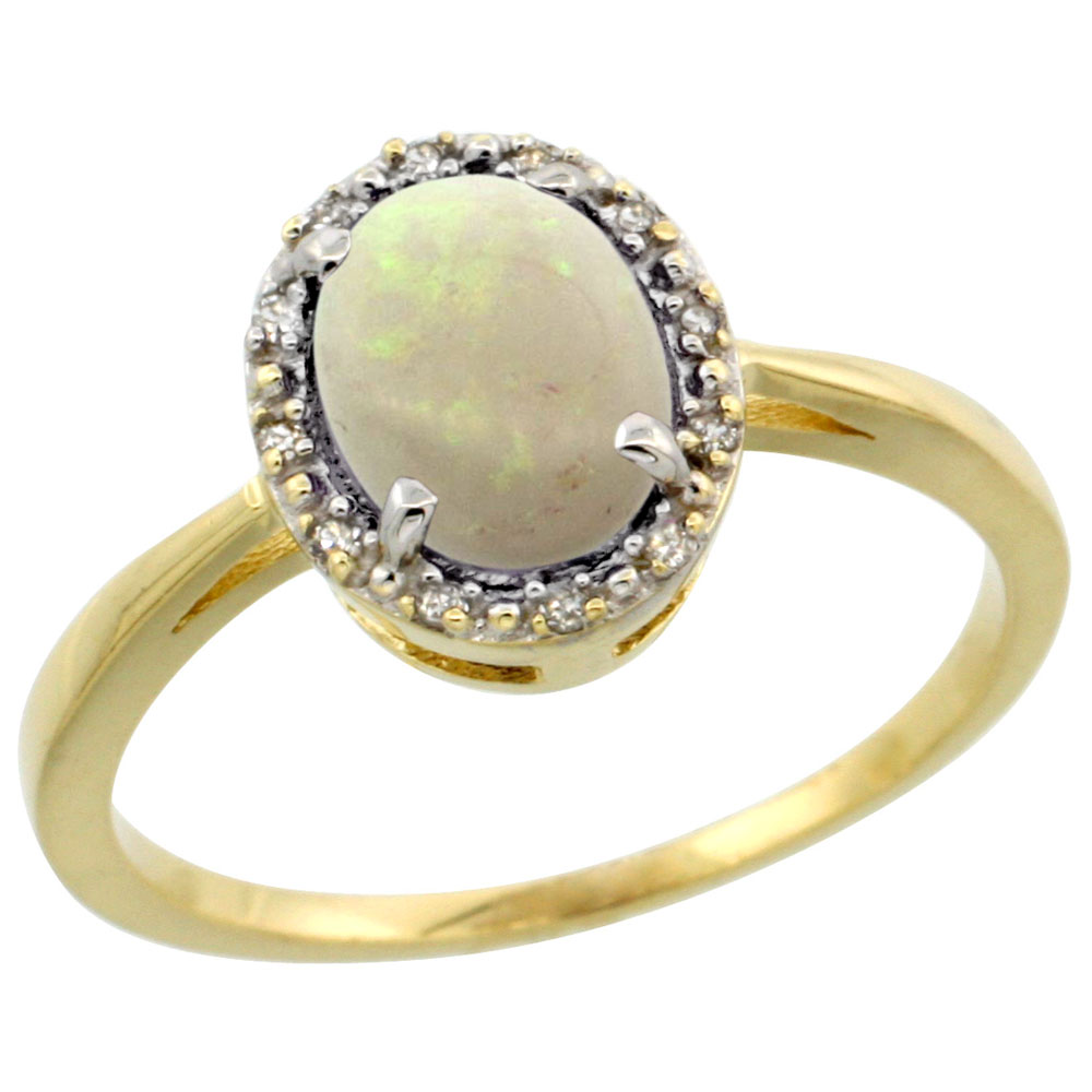 14K Yellow Gold Natural Opal Ring Oval 8x6 mm Diamond Halo, sizes 5-10