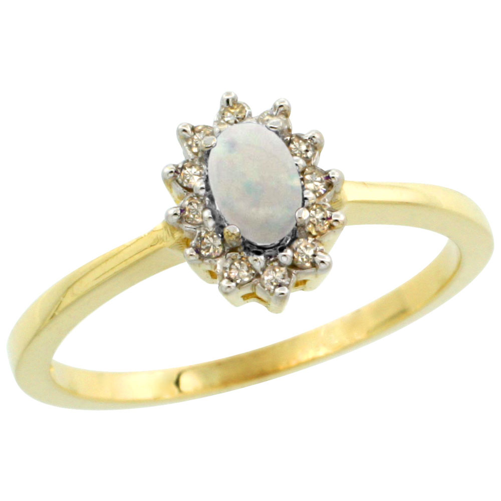14K Yellow Gold Natural Opal Ring Oval 5x3mm Diamond Halo, sizes 5-10