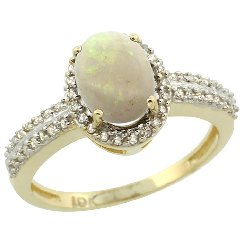 10k Yellow Gold Natural Opal Ring Oval 8x6mm Diamond Halo, sizes 5-10